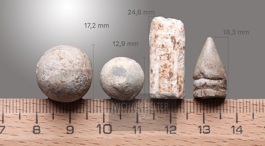 Makrofotografie Bleimunition (D, u.a. Musketenkugeln ca. 17. / 18. JH) © Michael Belter Photography